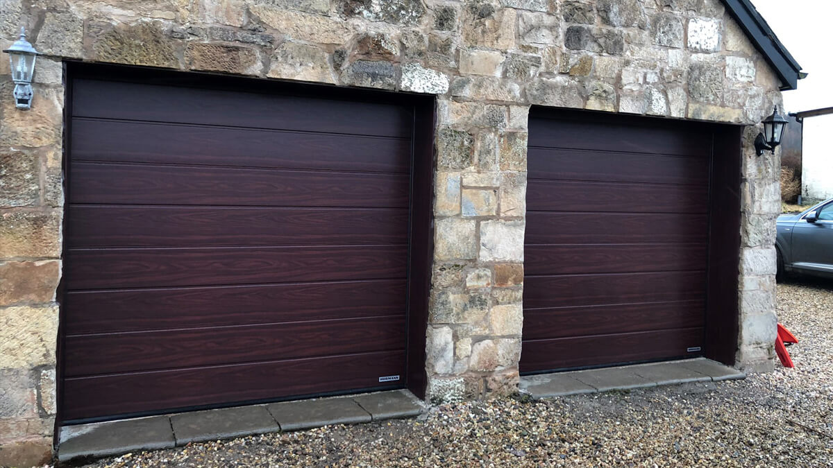 A pair of sectional garage doors fitted in Helensburgh.